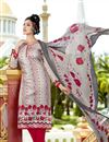image of Fancy Print Straight Cut Cotton Salwar Kameez in Grey Color