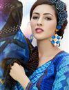 photo of Fancy Print Straight Cut Cotton Salwar Kameez in Blue Color