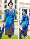 image of Fancy Print Straight Cut Cotton Salwar Kameez in Blue Color