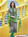 image of Grey Color Straight Cut Casual Wear Cotton Salwar Kameez