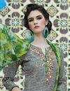 photo of Cream-Black Color Casual Wear Straight Cut Cotton Salwar Kameez