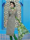 image of Cream-Black Color Casual Wear Straight Cut Cotton Salwar Kameez