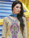 photo of Beige Straight Cut Casual Wear Printed Cotton Salwar Kameez