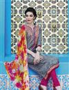 photo of Grey Color Straight Cut Casual Wear Cotton Salwar Kameez