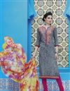 image of Grey Color Casual Printed Straight Cut Cotton Dress Material
