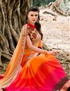 photo of Orange-Pink Color Designer Georgette Saree with Resham Work