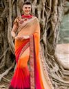 image of Orange-Pink Color Designer Georgette Saree with Resham Work