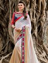 image of Designer Party Wear Georgette Saree in White Color