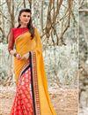 image of Designer Georgette Saree in Pink-Orange Color with Bangalori Silk Blouse