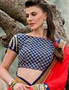 photo of Red Color Designer Saree in Geogette Fabric with Border