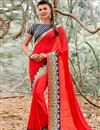 image of Red Color Designer Saree in Geogette Fabric with Border