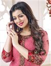 photo of Ayesha Takia Straight Cut Georgette Dress Material in Pink Color