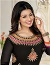 photo of Ayesha Takia Black Color Designer Dress Material in Georgette Fabric