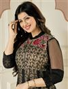 photo of Ayesha Takia Black-Cream Color Anarkali Dress Material in Georgette Fabric