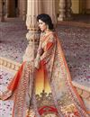 photo of Orange Party Wear Silk Saree with Digital Print