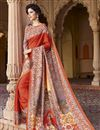image of Orange Party Wear Silk Saree with Digital Print
