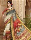 image of Cream-Grey Digital Print Silk Saree with Blouse