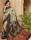 image of Black Party Wear Digital Print Art Silk Saree
