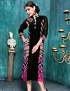 image of Black Georgette-Cotton Long Party Wear Ladies Kurt