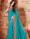 image of Sky Blue Georgette Party Wear Saree-15113