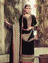 photo of Black Color Straight Cut Embroidered Georgette Salwar Kameez