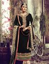 image of Black Color Straight Cut Embroidered Georgette Salwar Kameez