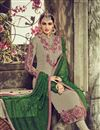 photo of Grey Color Straight Cut Embroidered Georgette Salwar Kameez