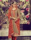 image of Long Length Designer Georgette Salwar Kameez in Chikoo Color