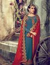 photo of Blue Color Straight Cut Georgette Salwar Kameez with Embroidery