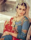 picture of Blue Color Straight Cut Georgette Salwar Kameez with Embroidery