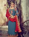 image of Blue Color Straight Cut Georgette Salwar Kameez with Embroidery