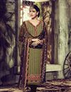 image of Long Length Designer Georgette Salwar Kameez in Mehendi Green Color