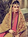 picture of Straight Cut Designer Georgette Salwar Kameez with Embroidery in Pink Color