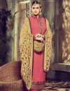 image of Straight Cut Designer Georgette Salwar Kameez with Embroidery in Pink Color