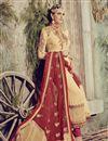 photo of Cream Color Long Length Embroidered Georgette Salwar Kameez