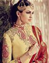 picture of Cream Color Long Length Embroidered Georgette Salwar Kameez