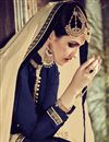 photo of Blue Color Straight Cut Embroidered Georgette Salwar Kameez