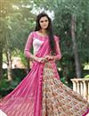 photo of Beautiful Pink And Cream Color Party Wear Printed Net And Silk Saree