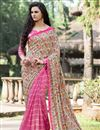 image of Beautiful Pink And Cream Color Party Wear Printed Net And Silk Saree