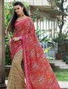image of Classy Red And Beige Color Party Wear Saree In Net And Silk Fabric