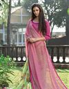 photo of Party Wear Green And Pink Color Printed Saree In Net And Silk Fabric