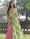 image of Party Wear Green And Pink Color Printed Saree In Net And Silk Fabric