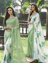 image of Party Wear White And Green Color Printed Saree In Net And Silk Fabric