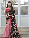 image of Casual Black And Pink Color Net And Silk Saree With Beautiful Print Designs