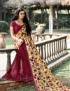 photo of Stylish Net And Silk Casual Wear Printed Saree In Pink And Cream Color