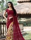image of Stylish Net And Silk Casual Wear Printed Saree In Pink And Cream Color