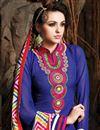 photo of Blue Long Length Chanderi Cotton Dress Material