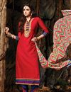 image of Red Long Length Chanderi Cotton Salwar Suit