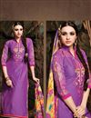 photo of Purple Chanderi Cotton Designer Dress Material