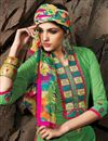 photo of Green Chanderi Cotton Designer Dress Material